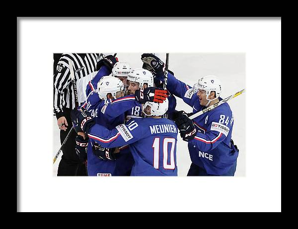 People Framed Print featuring the photograph Finland v France - 2017 IIHF Ice Hockey World Championship by Xavier Laine
