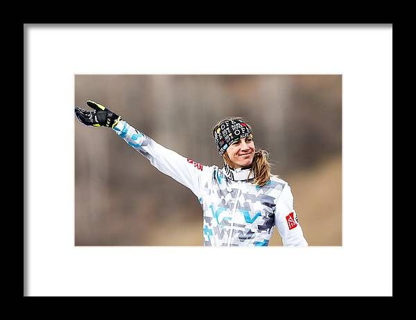 Aerial Skiing Framed Print featuring the photograph FIS Freestyle Ski World Championships - Men's and Women's Ski Cross by Stanko Gruden/Agence Zoom