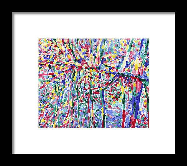 River Framed Print featuring the painting Forest river reflection oil painting on canvas, colorful psychedelic trees water landscape by Vitali Komarov