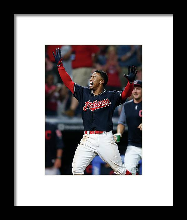 Three Quarter Length Framed Print featuring the photograph Francisco Lindor by Ron Schwane