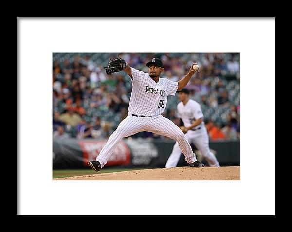 Baseball Pitcher Framed Print featuring the photograph Franklin Morales by Doug Pensinger