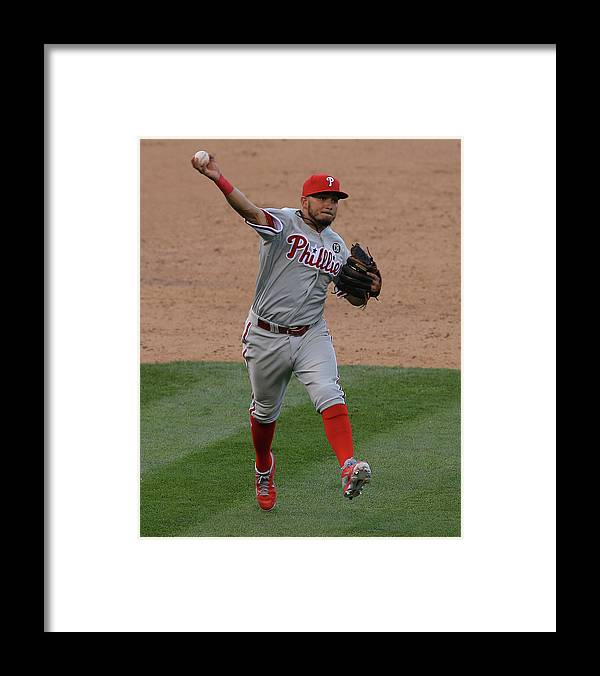 National League Baseball Framed Print featuring the photograph Freddy Galvis by Doug Pensinger