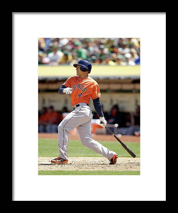 American League Baseball Framed Print featuring the photograph George Springer by Ezra Shaw