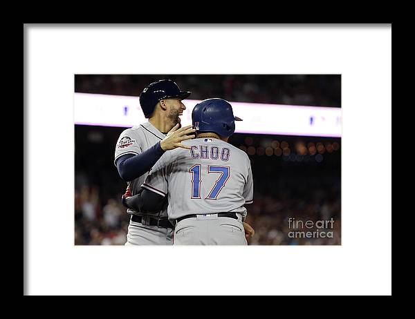 Three Quarter Length Framed Print featuring the photograph George Springer, Jean Segura, and Shin-soo Choo by Patrick Smith