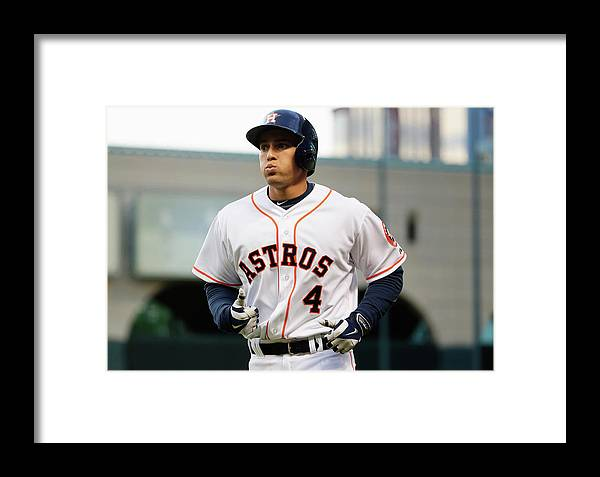 American League Baseball Framed Print featuring the photograph George Springer by Scott Halleran