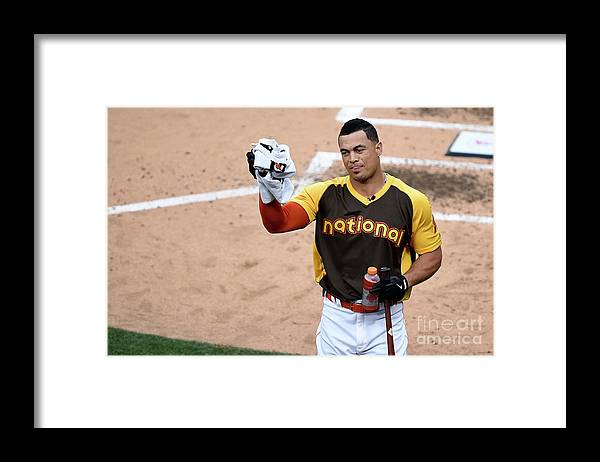 Three Quarter Length Framed Print featuring the photograph Giancarlo Stanton by Denis Poroy