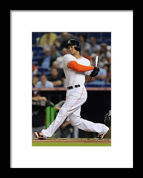 National League Baseball Framed Print featuring the photograph Giancarlo Stanton by Rhona Wise