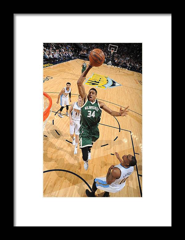 Nba Pro Basketball Framed Print featuring the photograph Giannis Antetokounmpo by Garrett Ellwood