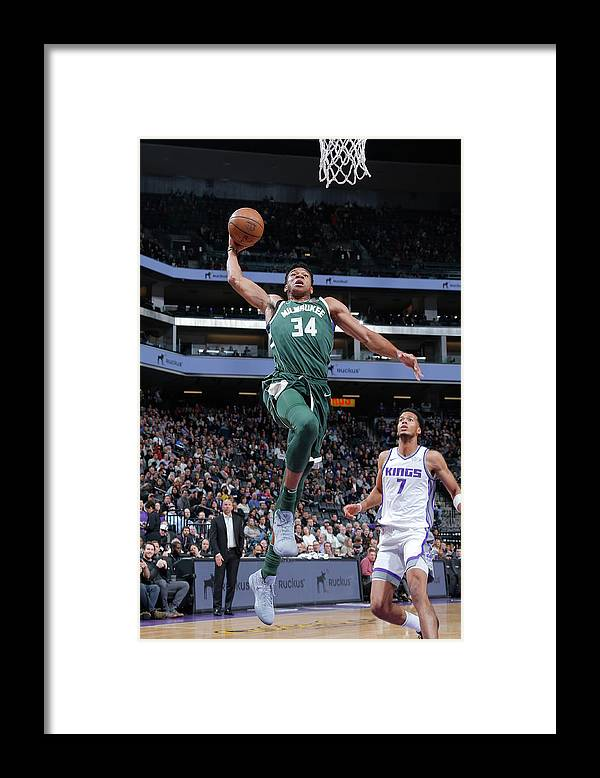 Nba Pro Basketball Framed Print featuring the photograph Giannis Antetokounmpo by Rocky Widner