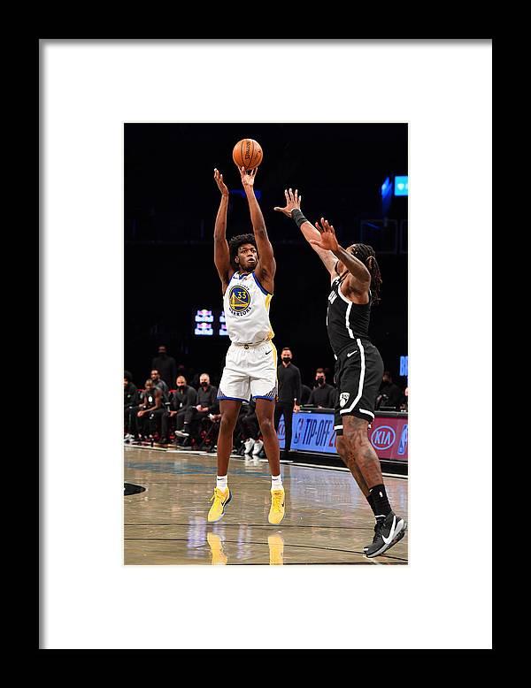 Nba Pro Basketball Framed Print featuring the photograph Golden State Warriors v Brooklyn Nets by Jesse D. Garrabrant