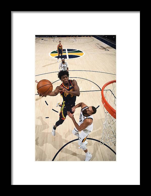 Nba Pro Basketball Framed Print featuring the photograph Golden State Warriors v Utah Jazz by Garrett Ellwood