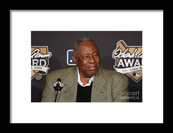 Game Two Framed Print featuring the photograph Hank Aaron by Jason Miller