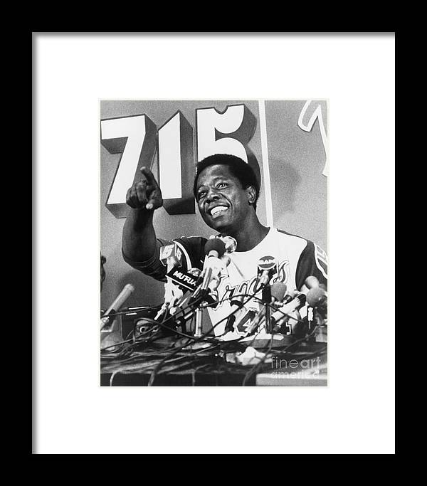 People Framed Print featuring the photograph Hank Aaron by Mlb Photos