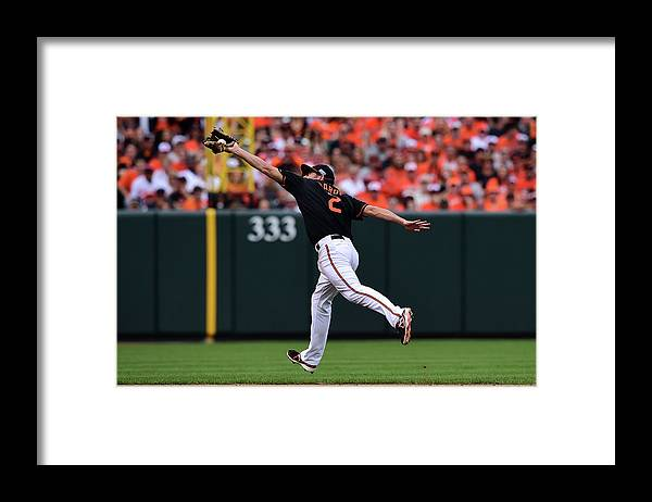 Game Two Framed Print featuring the photograph J. J. Hardy by Patrick Smith