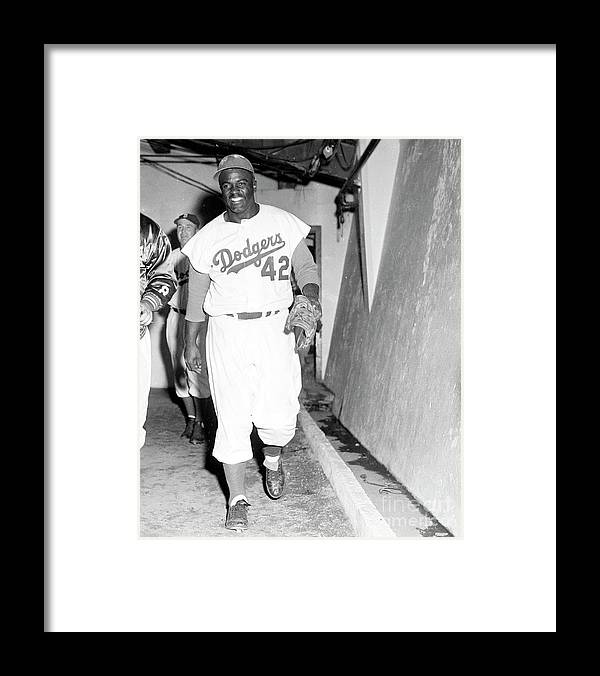 1950-1959 Framed Print featuring the photograph Jackie Robinson by Kidwiler Collection