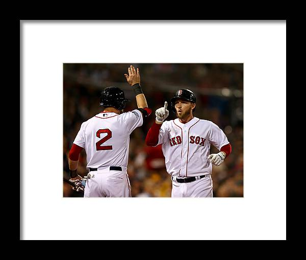 Playoffs Framed Print featuring the photograph Jacoby Ellsbury and Stephen Drew by Elsa