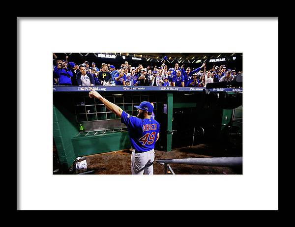 Playoffs Framed Print featuring the photograph Jake Arrieta by Jared Wickerham