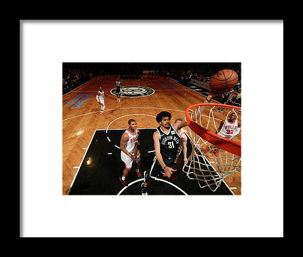 Nba Pro Basketball Framed Print featuring the photograph Jarrett Allen and Drazen Petrovic by Jesse D. Garrabrant