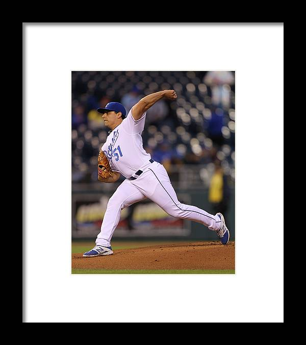 American League Baseball Framed Print featuring the photograph Jason Vargas by Ed Zurga