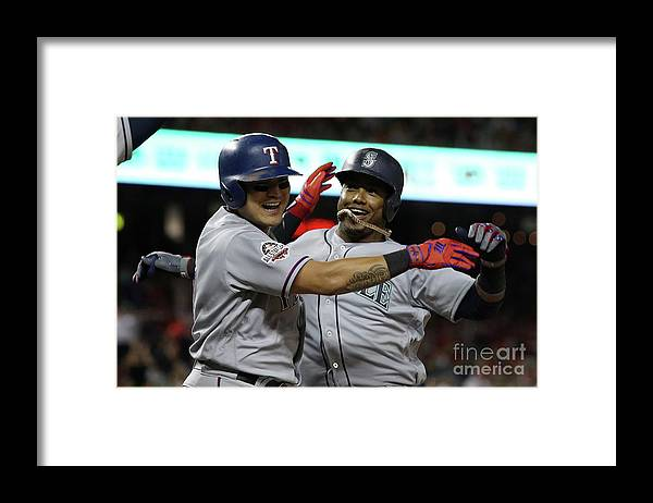People Framed Print featuring the photograph Jean Segura and Shin-soo Choo by Patrick Smith