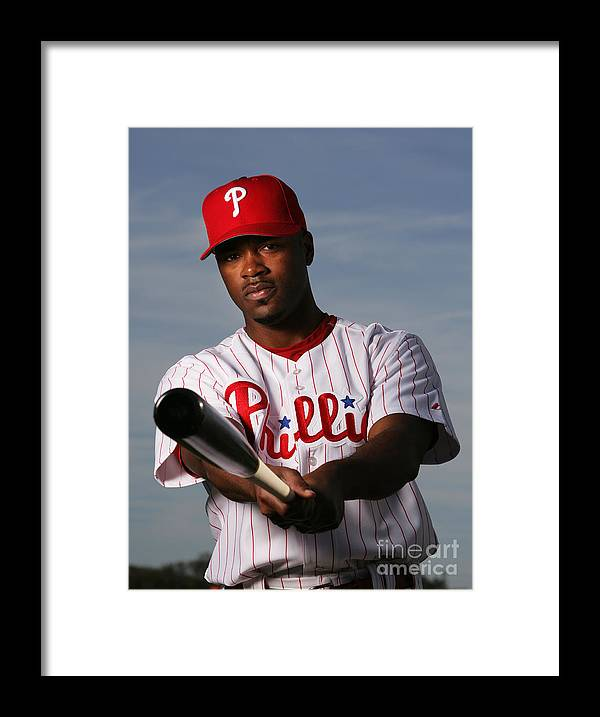 Media Day Framed Print featuring the photograph Jimmy Rollins by Al Bello