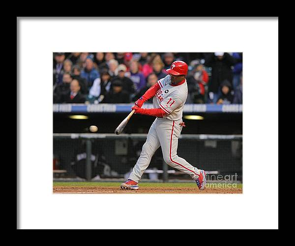 Playoffs Framed Print featuring the photograph Jimmy Rollins by Doug Pensinger