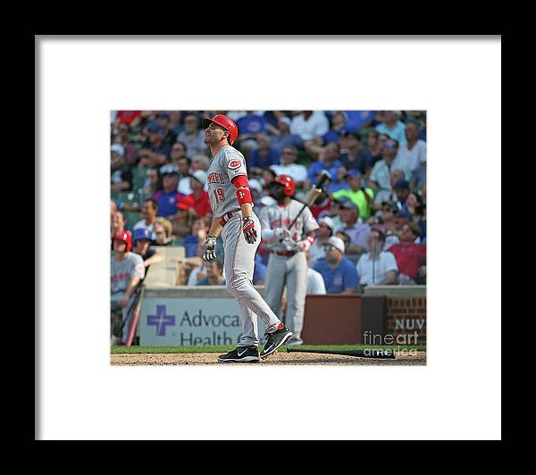 Following Framed Print featuring the photograph Joey Votto by Jonathan Daniel