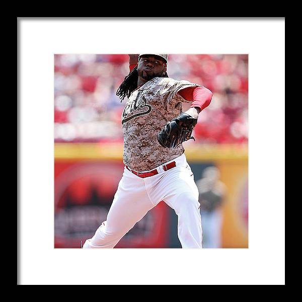 Great American Ball Park Framed Print featuring the photograph Johnny Cueto by Joe Robbins
