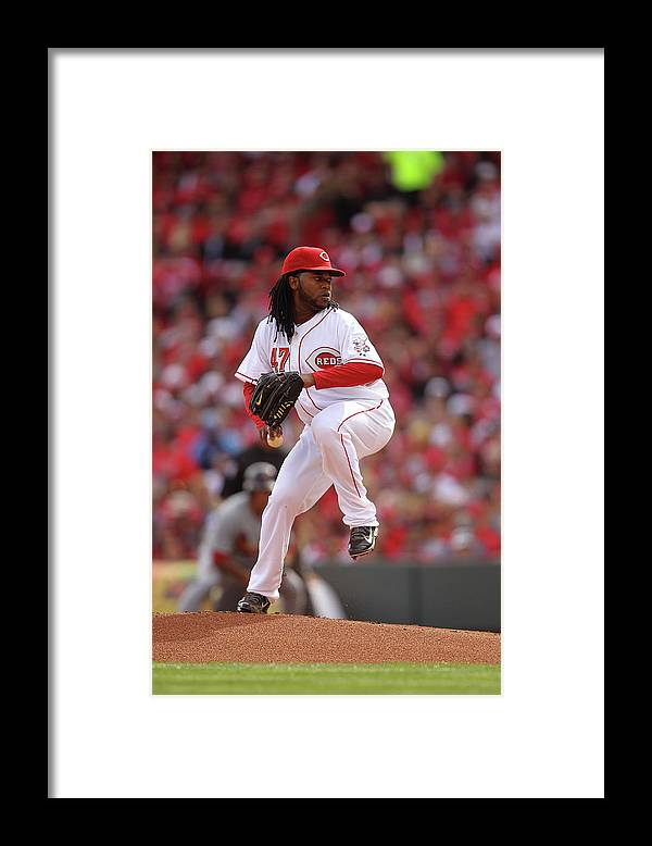 Great American Ball Park Framed Print featuring the photograph Johnny Cueto by John Grieshop