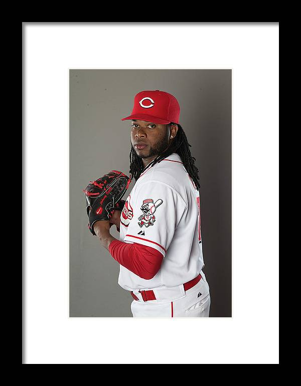 American League Baseball Framed Print featuring the photograph Johnny Cueto by Mike Mcginnis