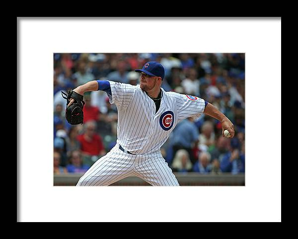 Three Quarter Length Framed Print featuring the photograph Jon Lester by Jonathan Daniel