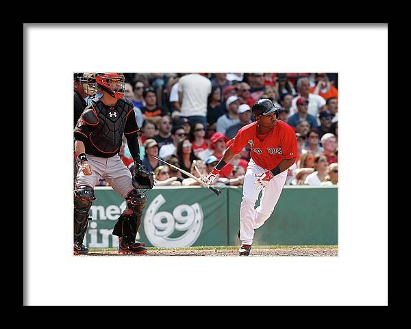 Ninth Inning Framed Print featuring the photograph Jonathan Herrera by Jim Rogash