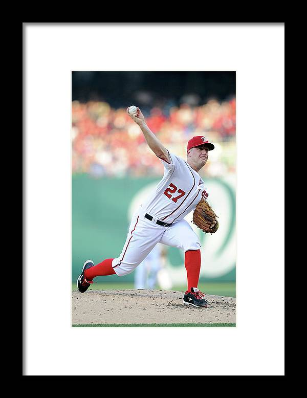 Second Inning Framed Print featuring the photograph Jordan Zimmermann by Greg Fiume