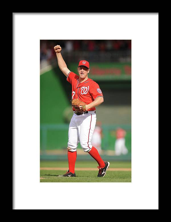 Celebration Framed Print featuring the photograph Jordan Zimmermann by Mitchell Layton