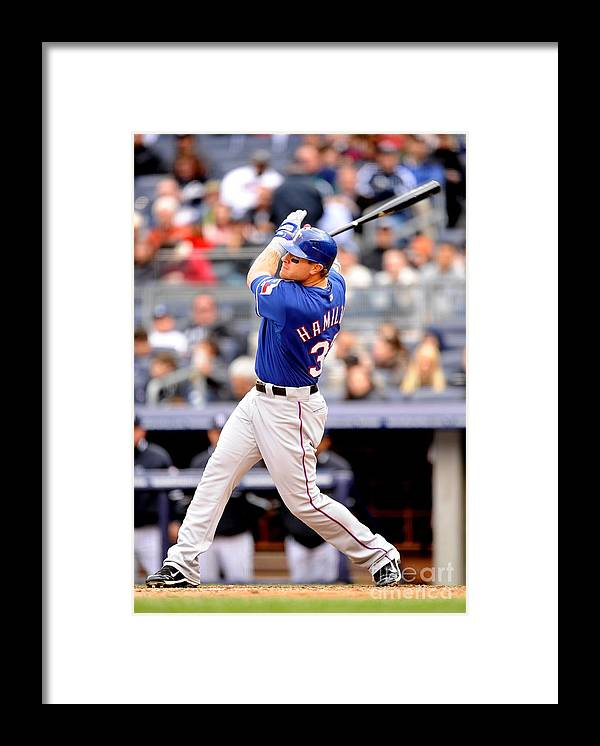 American League Baseball Framed Print featuring the photograph Josh Hamilton by Rob Tringali/sportschrome