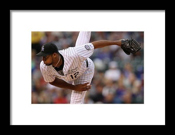 American League Baseball Framed Print featuring the photograph Juan Nicasio by Doug Pensinger