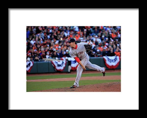 American League Baseball Framed Print featuring the photograph Junichi Tazawa by Rob Carr
