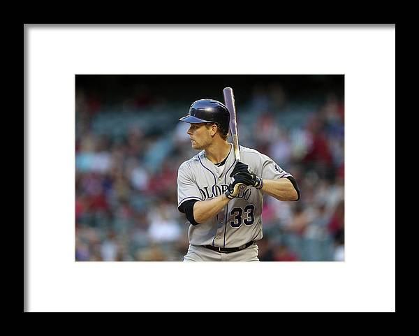 National League Baseball Framed Print featuring the photograph Justin Morneau by Christian Petersen