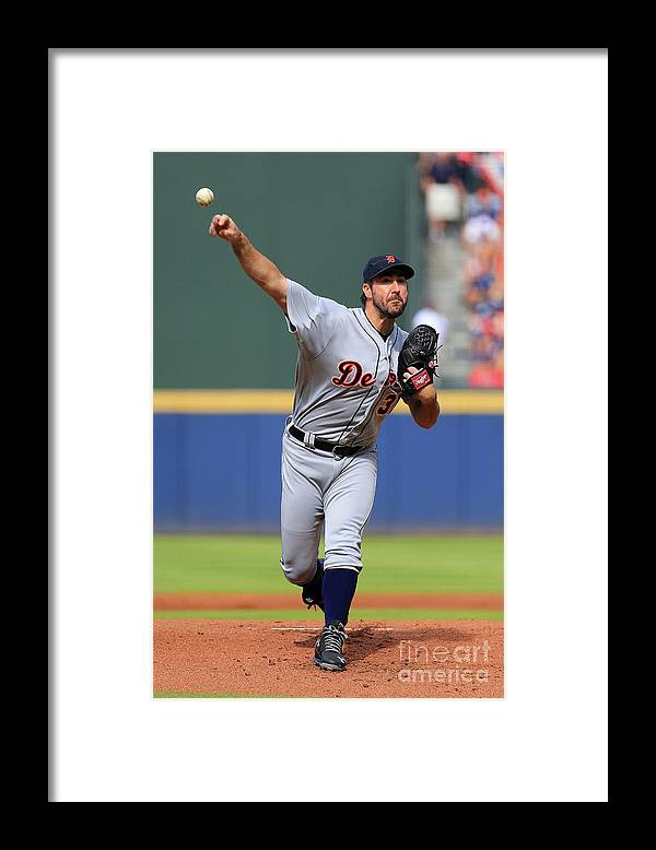 Atlanta Framed Print featuring the photograph Justin Verlander by Daniel Shirey