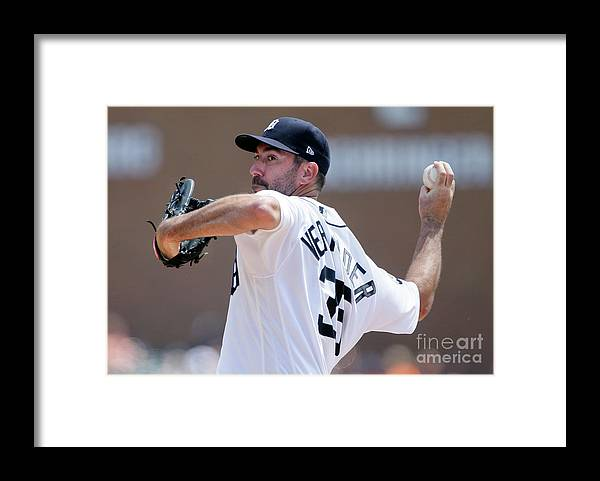 Second Inning Framed Print featuring the photograph Justin Verlander by Duane Burleson