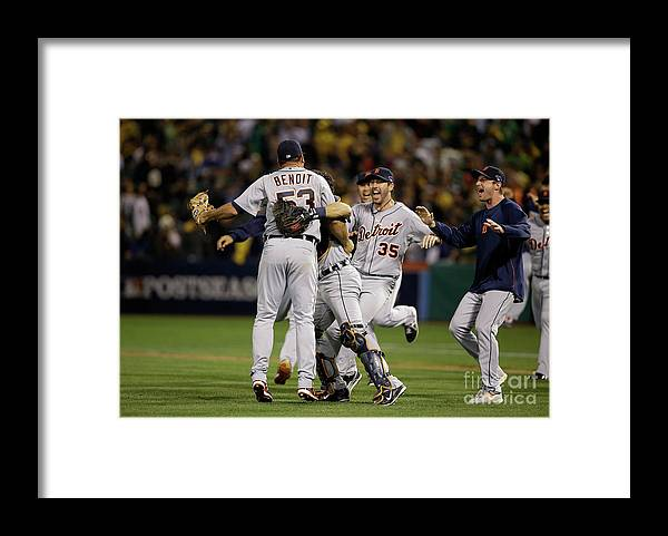 American League Baseball Framed Print featuring the photograph Justin Verlander by Ezra Shaw