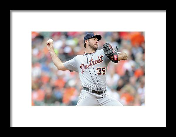 American League Baseball Framed Print featuring the photograph Justin Verlander by Greg Fiume