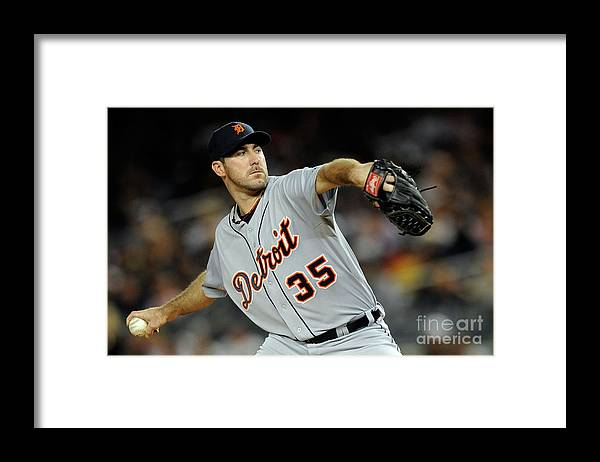 American League Baseball Framed Print featuring the photograph Justin Verlander by Patrick Mcdermott