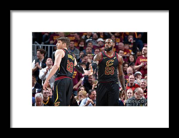 Playoffs Framed Print featuring the photograph Kevin Love and Lebron James by David Liam Kyle