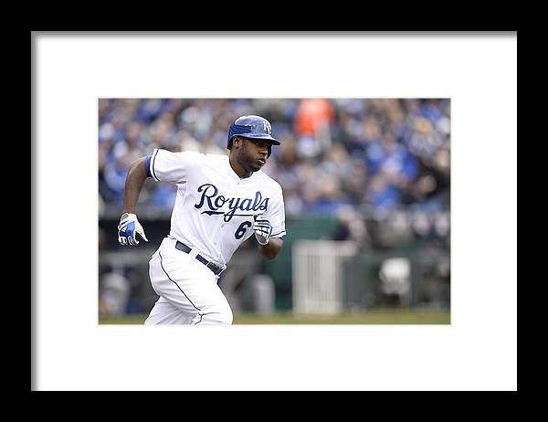 American League Baseball Framed Print featuring the photograph Lorenzo Cain by John Williamson