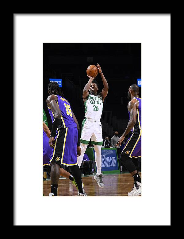 Nba Pro Basketball Framed Print featuring the photograph Los Angeles Lakers v Boston Celtics by Brian Babineau