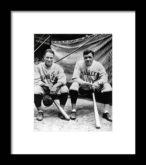 American League Baseball Framed Print featuring the photograph Lou Gehrig And Babe Ruth by National Baseball Hall Of Fame Library