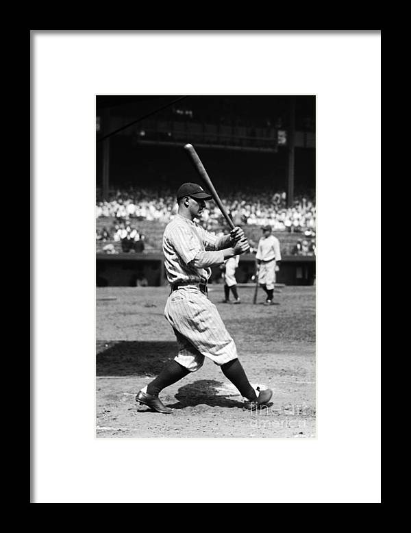 American League Baseball Framed Print featuring the photograph Lou Gehrig by Kidwiler Collection