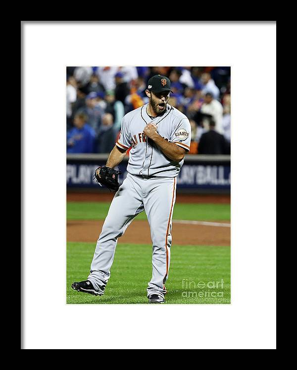 Playoffs Framed Print featuring the photograph Madison Bumgarner by Al Bello