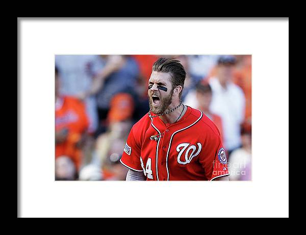 San Francisco Framed Print featuring the photograph Madison Bumgarner and Bryce Harper by Ezra Shaw